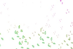 Light Pink, Green vector sketch layout. A vague abstract illustration with leaves in doodles style. New template for your brand book.