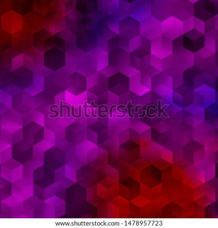 Light Pink, Red vector background with hexagons. Colorful hexagons on blur backdrop. Design for website posters, banners.