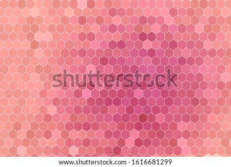 Light Pink vector layout with hexagonal shapes. Blur background with colorful hexagons. Pattern for ads, leaflets.