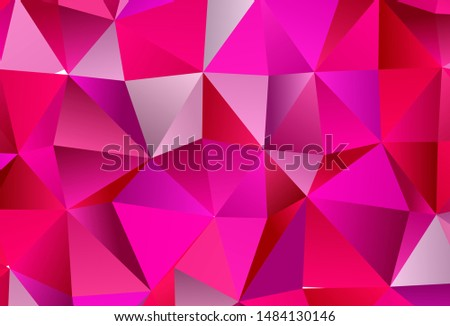 Light Pink vector template with crystals, triangles. Triangles on abstract background with colorful gradient. Best design for poster, banner.