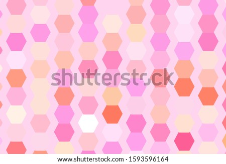 Light Pink, Yellow vector background with hexagons. Colorful hexagons on blur backdrop. Pattern for your ad, booklets.
