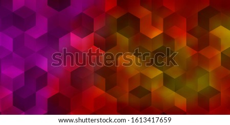 Light Pink, Yellow vector background with set of hexagons. Colorful hexagons on blur backdrop. Pattern for your ad, booklets.