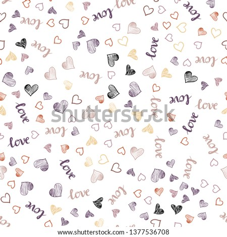 Light Pink, Yellow vector seamless background with words of love, hearts. Illustration with phrase LOVE YOU, hearts for valentine's day. Pattern for design of fabric, wallpapers. #1377536708