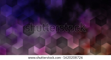 Light Purple, Pink vector background with set of hexagons. Colorful hexagons on blur backdrop. Pattern for landing pages.