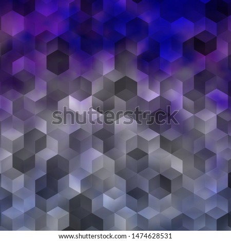 Light Purple vector background with set of hexagons. Colorful hexagons on blur backdrop. Pattern for texture of wallpapers.