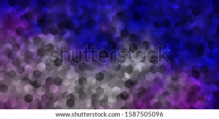 Light Purple vector texture with colorful hexagons. Colorful hexagons on blur backdrop. Pattern for ads, leaflets.