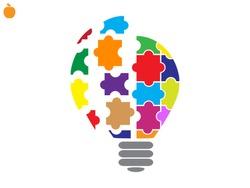 light puzzle icon, vector illustration eps10