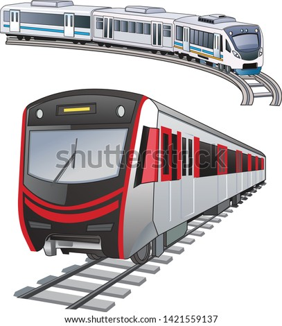 Light rail or light rail transit (LRT) - vector