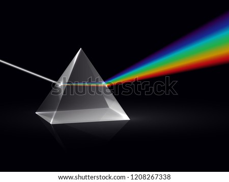 Light rays in prism. Ray rainbow spectrum dispersion optical effect in glass prism. Educational physics vector background. Illustration of prism spectrum light and rainbow refraction
