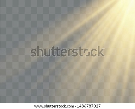 Light rays,  yellow special effect with rays of light and magic sparkles. Sun Ray .