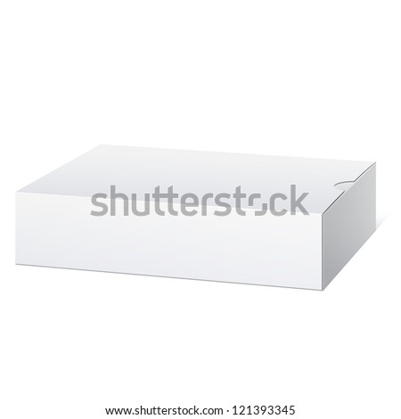 Light Realistic Package Cardboard Box. Lying horizontally. Vector illustration