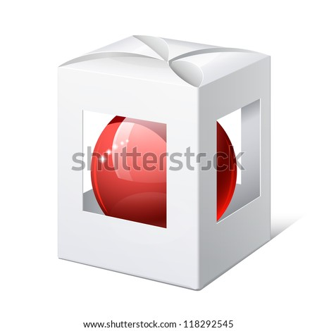 Light Realistic Package Cardboard Box with a transparent Windows and red ball inside. Christmas Toy. Vector illustration