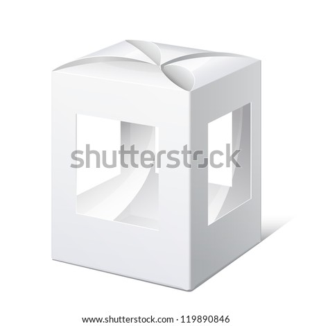 Light Realistic Package Cardboard Box with a transparent Windows. Christmas Toy. Vector illustration