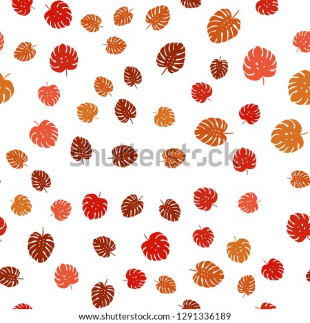 Light Red vector seamless doodle background with leaves. Blurred decorative design in Indian style with leaves. Design for textile, fabric, wallpapers. #1291336189