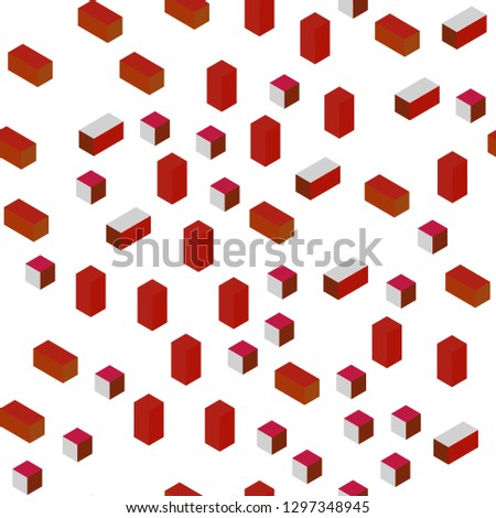 Light Red vector seamless, isometric background with rectangles. Rectangles on abstract background with colorful gradient. Pattern for trendy fabric, wallpapers.