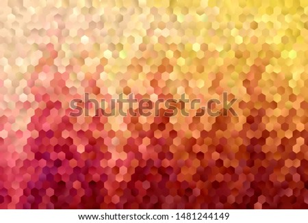 Light Red, Yellow vector pattern with colorful hexagons. Colorful hexagons on blur backdrop. Design for your business advert.