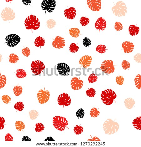 Light Red, Yellow vector seamless elegant pattern with leaves. Creative illustration in blurred style with leaves. Pattern for design of fabric, wallpapers. #1270292245