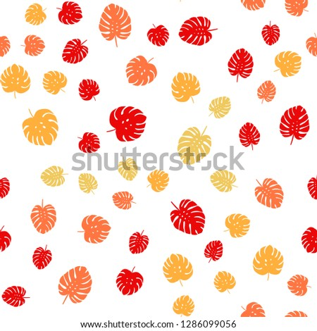 Light Red, Yellow vector seamless elegant pattern with leaves. Creative illustration in blurred style with leaves. Template for business cards, websites. #1286099056