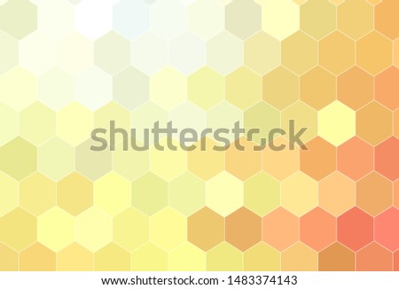 Light Red, Yellow vector texture with colorful hexagons. Colorful hexagons on blur backdrop. Design for website posters, banners.