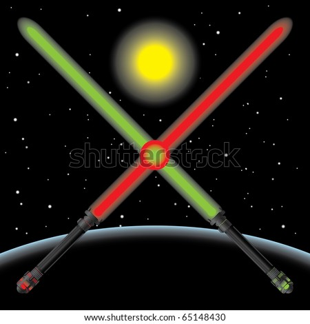 light sabres in space vector