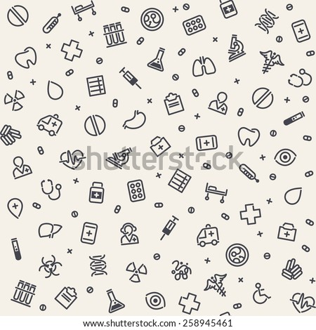 Light Seamless Medical Pattern. Isolated on White Background. Editable pattern in swatches.