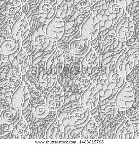 Light seamless pattern of paper twisted leaves and spirals in papercut style