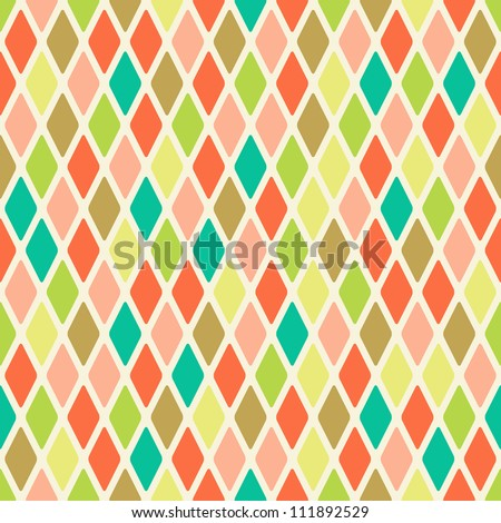 Light Seamless Warm Color Argyle Pattern. Rhombus Background