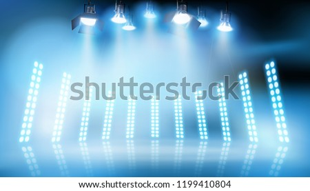 Light show on the stage. Vector illustration.