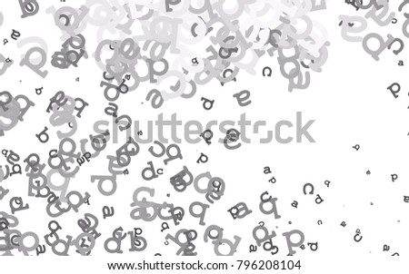 Light Silver Gray Vector Layout With Latin Alphabet Shining