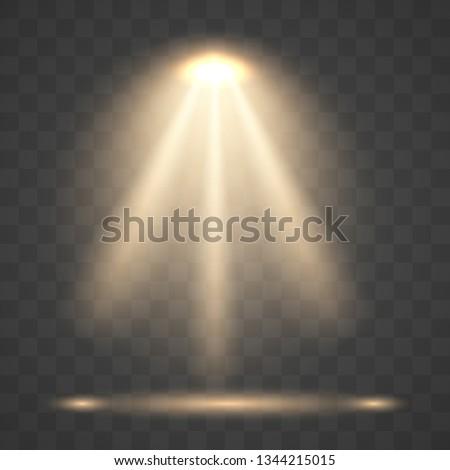 Light sources, concert lighting, stage spotlights. Floodlight  beam, illuminated spotlights for web design and projection studio lights beam concert club show scene illumination.