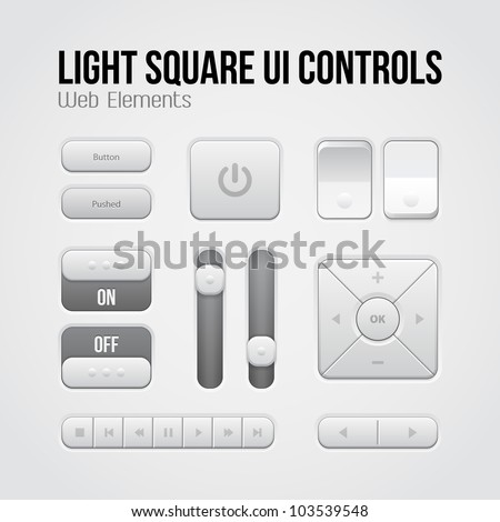 Light Square UI Controls Web Elements: Buttons, Switchers, On, Off, Player, Audio, Video: Play, Stop, Next, Pause, Volume, Equalizer, Arrows
