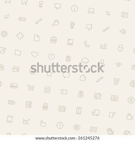 Light Tilted Seamless Pattern with Icons. Editable pattern in swatches.