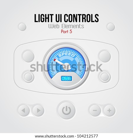 Light UI Controls Web Elements 5: Buttons, Switchers, On, Off, Player, Audio, Video, Volume, Speed Indicator, Speedometer