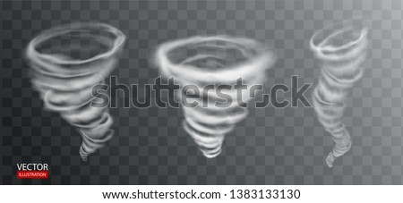 Light vortex tornado vector effect. Abstract white storm funnel, whirlwind, hurricane wind, blizzard swirl, energy twister, dust typhoon, magic maelstrom cone illustration on transparent background.