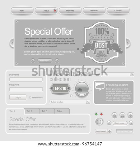 Light Web UI Elements Design Gray. Elements: Buttons, Switchers - stock vector