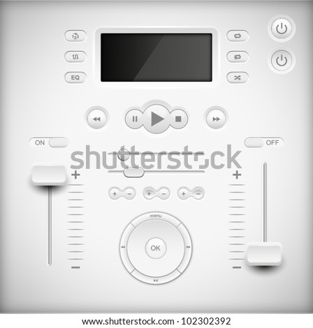 Light Web UI Elements Design Gray. Elements: Buttons, Switchers, Slider, mix, equalizer