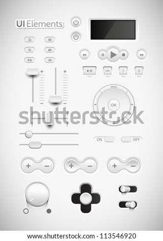 Light Web UI Elements Design Gray. Elements: Buttons, Switchers, Slider, mix, equalizer