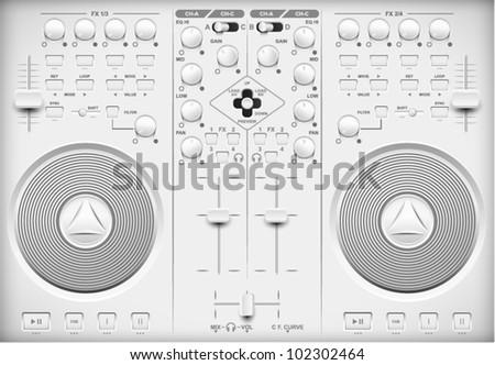 Light Web UI Elements Design Gray. Elements: Buttons, Switchers, Slider, mixer
