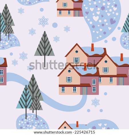 light winter background with houses