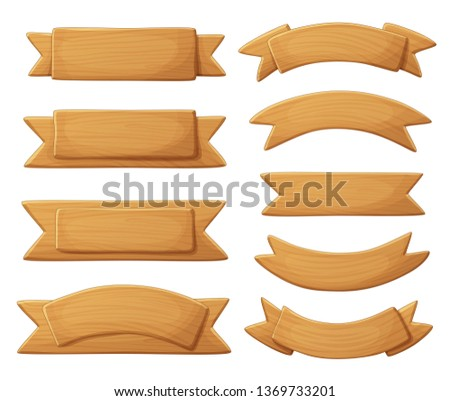 Light wooden signboards isolated on white background. Ribbon shape banners made of wood cartoon vector illustration Сток-фото ©