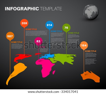 Drop shadow world map vector download free vector art stock light world map infographic template with droplet pointer marks dark version sciox Choice Image