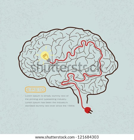 Lightbulb Brain Idea for Ideas or Inspiration , eps10 vector format