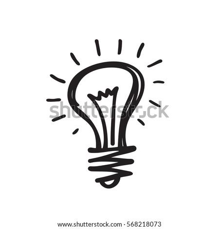 Lightbulb - creative sketch draw vector illustration. Electric lamp logo sign.