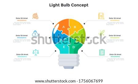 lightbulb divided into 6