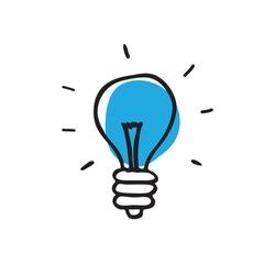 lightbulb doodle icon, vector illustration