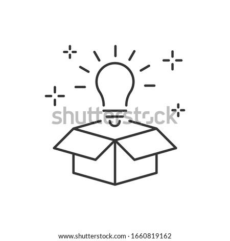 Lightbulb from box line icon. Think outside box ストックフォト ©