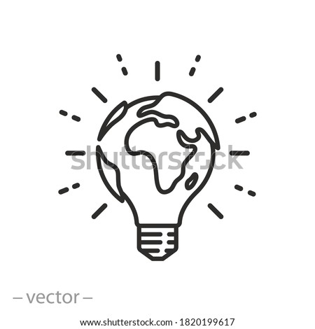 lightbulb globe concept icon, world eco innovation creative idea, green energy on earth planet, global solution with electricity, logo unique, thin line simple web symbol on white background