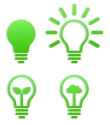 lightbulb green sticker icon logotype