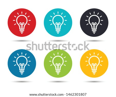 Lightbulb icon flat round button set illustration design isolated on white background
