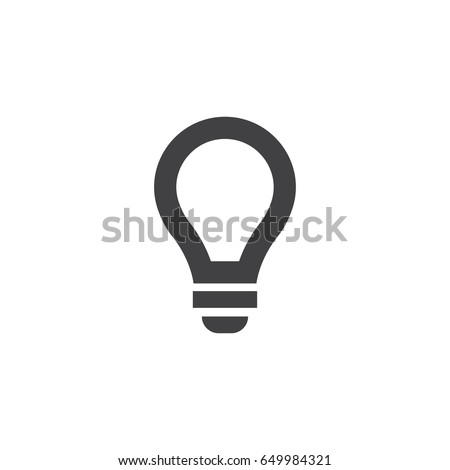 Lightbulb icon in black on a white background. Vector illustration